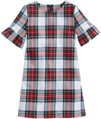 Vineyard Vines Girls Plaid Bell Sleeve Holiday Dress