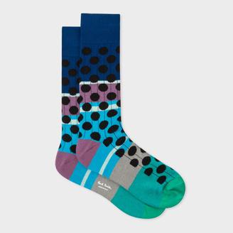 Men's Multi-Coloured Black Spot Ribbed Socks $30 thestylecure.com