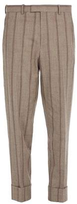 Wooyoungmi - Striped Turn Up Wool Blend Trousers - Mens - Light Brown