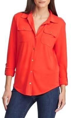 Lauren Ralph Lauren Knit Roll-Tab Sleeve Shirt