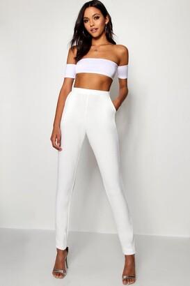 boohoo Tall Skinny Crepe 2 Pocket Trousers