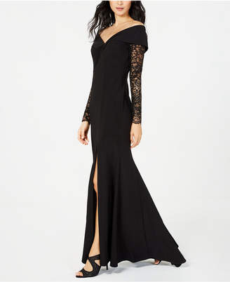 Xscape Evenings Petite Off-The-Shoulder Lace-Sleeve Gown