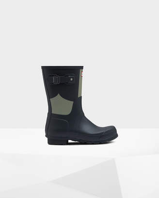 Hunter Men's Original Short Gingham Print Rain Boots