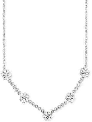 Wrapped in Love Diamond Flower Cluster Necklace (1 ct. t.w.) in 14k White Gold, Created for Macy's