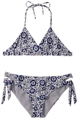 Splendid Littles Check Please Reversible Bralette and Cut Out Side Pants Girl's Swimwear Sets