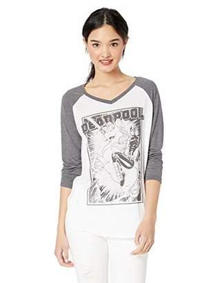 Marvel Multi/Color//Official Deadpool Fantasy Junior's Fashion Raglan