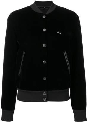 Fay velvet button bomber jacket