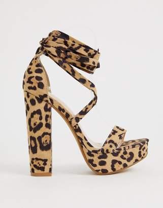 Public Desire Leonie leopard ankle tie platform sandals