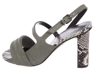 Robert Clergerie Clergerie Paris Leila Snakeskin-Accented Sandals