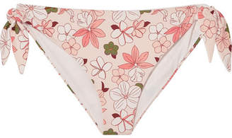 Indah Broochini Floral-print Bikini Briefs - Pastel pink