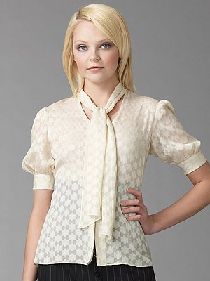 Milly Silk Tie Neck Blouse