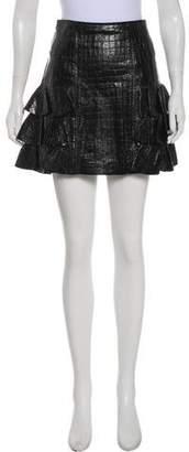 Alexis Embossed Leather Mini Skirt