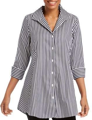 Foxcroft Cecilia Stripe Button-Down Tunic