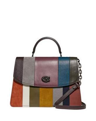 Parker Coach 1941 32 Mixed Leather Patchwork Top-Handle Satchel Bag