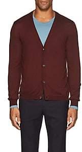 Boglioli Men's Virgin Wool Cardigan-Rust