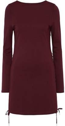 McQ Lace-Up Stretch-Knit Mini Dress