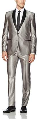 Nick Graham Men's Solid Tuxedo with Hemmed Pant