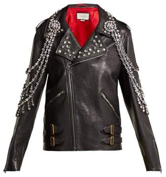 Gucci Yankees Crystal Embellished Leather Biker Jacket - Womens - Black Multi