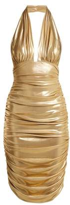 Norma Kamali Halterneck Plunge Dress - Womens - Gold