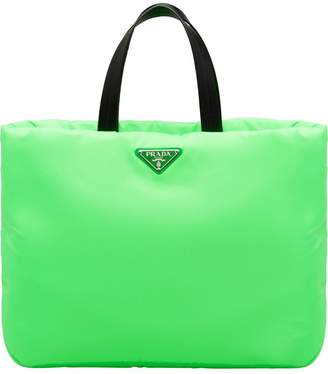 Prada neon green padded tote bag