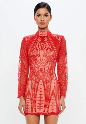 Missguided Red Lace High Neck Bodycon Dress