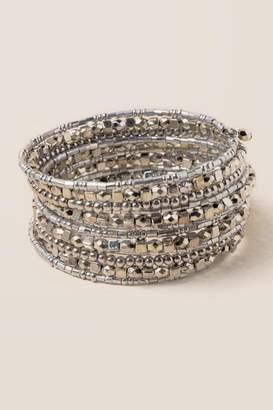 francesca's Kadee Beaded Coil Bracelet - Silver