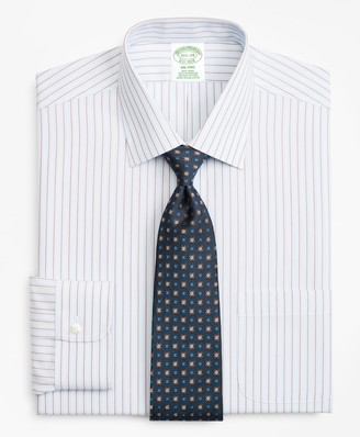 Brooks Brothers Milano Slim-Fit Dress Shirt, Non-Iron Hairline Alternating Stripe
