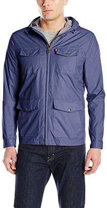 Levi's Men's Four Pocket Hooded Military Rain Jacket
