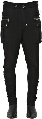 Balmain Cotton Jersey Cargo Pants W/ Bands