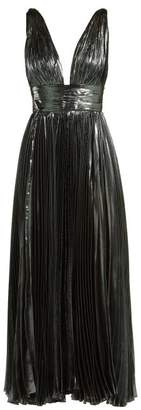Maria Lucia Hohan Sada Pleated Silk Blend Gown - Womens - Dark Blue