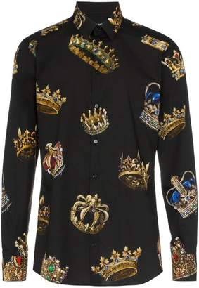 Dolce & Gabbana crown print fitted shirt