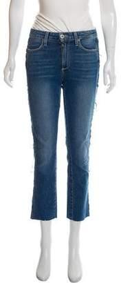 Paige Denim Distressed Mid-Rise Straight Jeans