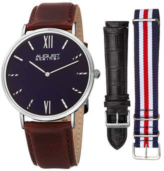 August Steiner Men&s Interchangeable Strap Watch Gift Set $89.97 thestylecure.com