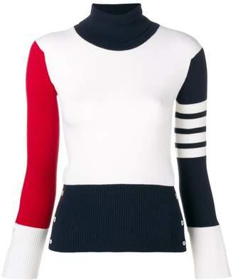 Thom Browne colourblock ribbed turtleneck sweater