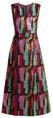 Carl Kapp - Hummingbird Sleeveless Jacquard Calf Length Dress - Womens - Black Multi