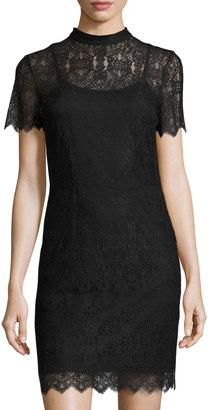 kensie Short-Sleeve Mock-Neck Lace Minidress, Black $69 thestylecure.com