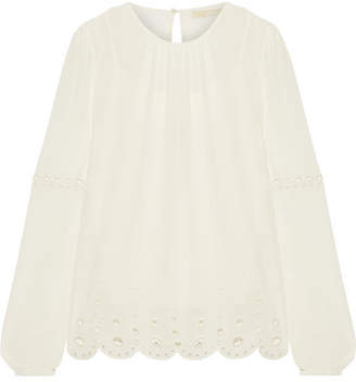 MICHAEL Michael Kors - Broderie Anglaise Georgette Blouse - Ivory $135 thestylecure.com