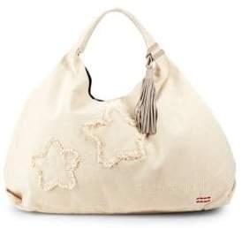 Peace Love World Denim Patch Hobo Bag