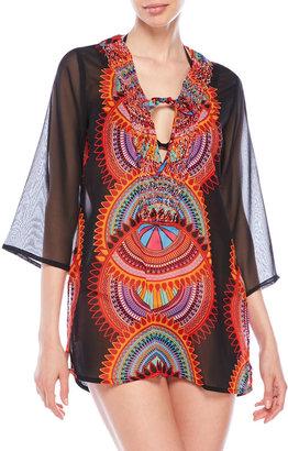 raviya Printed Embellished Blouse $48 thestylecure.com