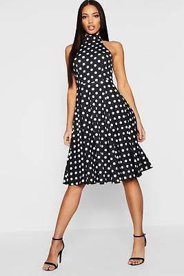 boohoo NEW Womens Polka Dot High Neck Midi Dress in Polyester 5% Elastane