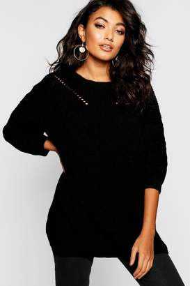 boohoo Crew Neck Oversized Jumper With Detail