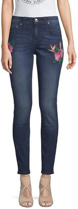 True Religion Women's Embroidered Curvy Skinny Jeans - Medium Blue, Size 28 (4-6)