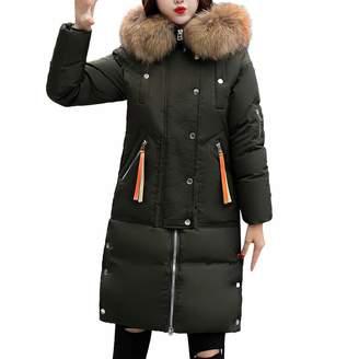 PENATE Women's Down Jackets PENATE Women's Long Down Jacket Girls Winter Warm Solid Plush Hooded Cotton Coat