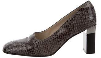 Chanel Python Square-Toe Pumps