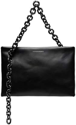 ae74a4532fd Calvin Klein black skull chain leather clutch bag