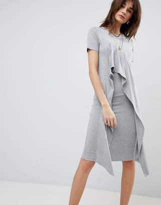 Asos Design Midi T-Shirt Dress With Frill Front
