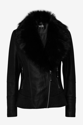 Wallis Black Fur Collar Faux Leather Jacket