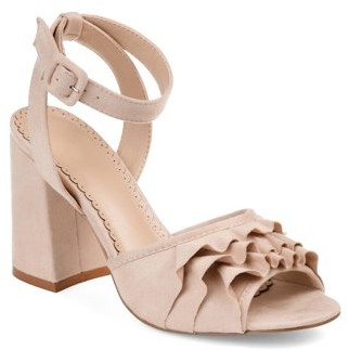 Co Brinley Womens Ruffle Faux Suede Ankle-strap Heels