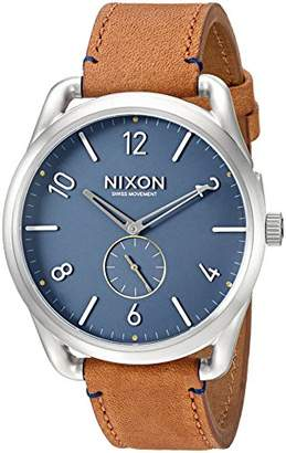 Nixon Men's A4652186 C45 Leather Analog Display Swiss Quartz Brown Watch