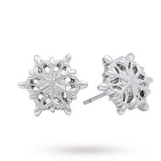 Disney White Gold Plated Frozen Snowflake Studs